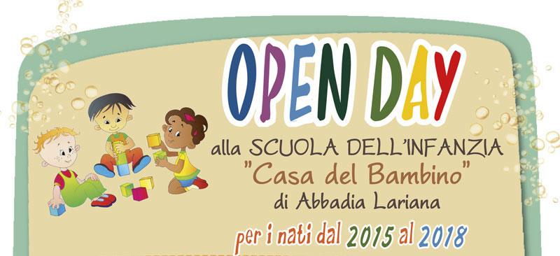 OPEN DAY alla Scuola dell'Infanzia per i nati dal 2015 al 2018